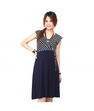 Stripe Top Wrap Waist Dress