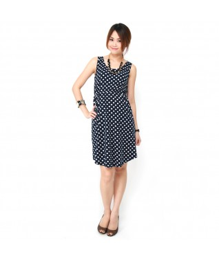 Polka Dot Sleeveless U Neck Dress