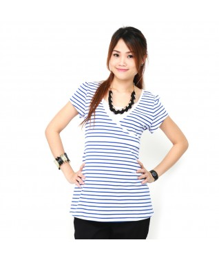 Blue Stripe Nursing Shirt
